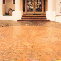 Slate Cobblestone Circle with European Fan - custom concrete Calgary stamped concrete textures, designs and patterns
