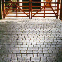 Deep Joint Slate Cobblestone - sample of custom decorative concrete available from Access Concrete Calgary, stamped textures, colours, designs and patterns
