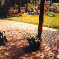 Old Brick Basket Weave - sample of custom concrete Calgary stamped concrete textures, designs and patterns