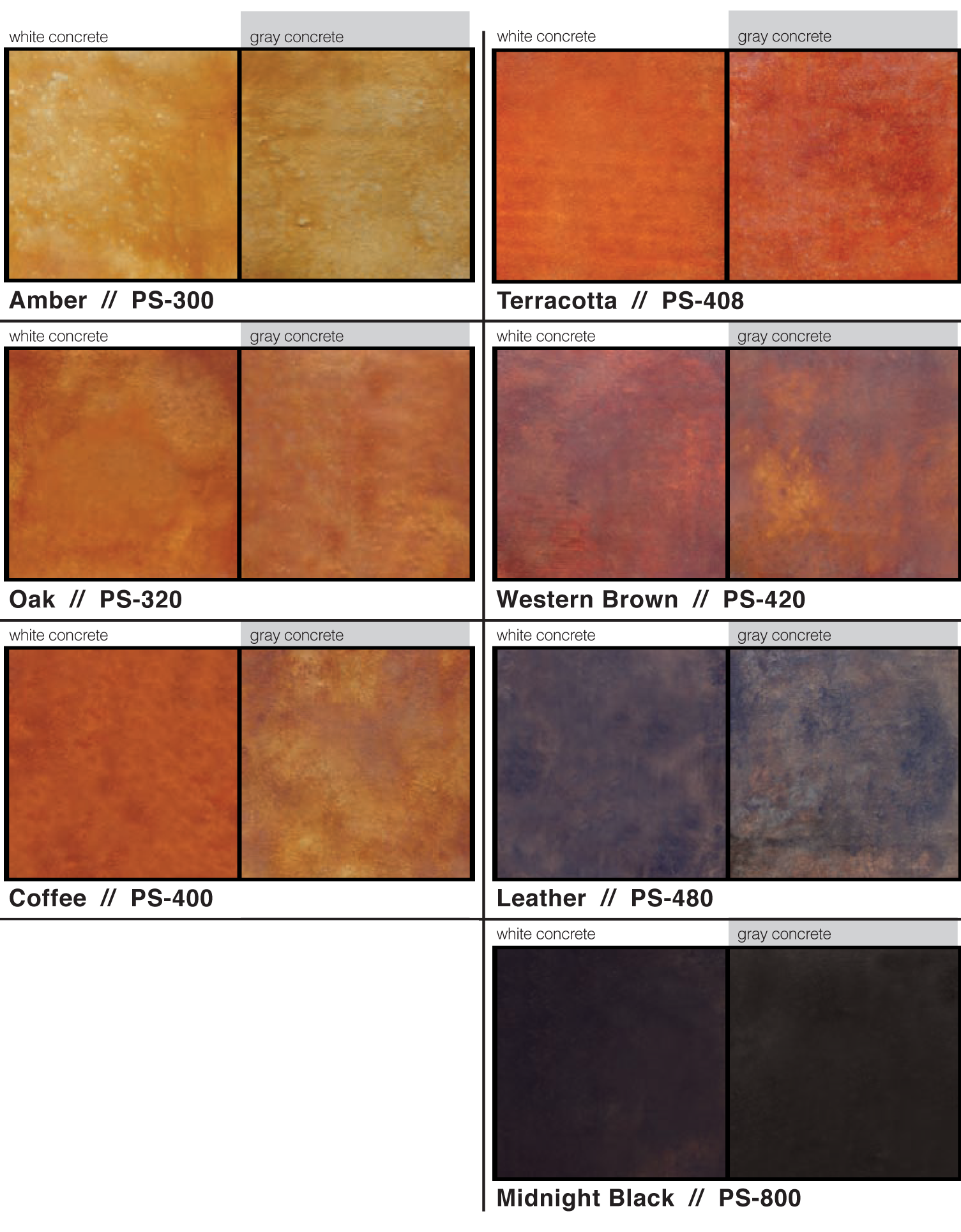 Samples Of Acid Based Concrete Stain Colours Available Through Access Calgary Alberta